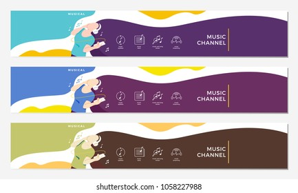 music channel youtube cover with girl hearing headphone illustration flat vector banner background