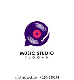 music chat logo design template. vinyl disc vector icon symbol design