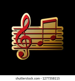 Music clef sign. G-clef and notes G, H. Vector. Red icon with small black and limitless shadows at golden sticker on black background.