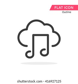 Music cloud Vector Object Picture Image Graphic Glyph Outline Icon