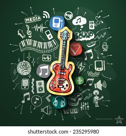 Music collage with icons on blackboard. Vector illustration