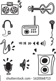 Music Collection hand-drawn save as SVG to use in sparkol videoscribe