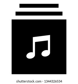 Music collection icon. Vector icon of music library