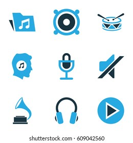 Music Colored Icons Set. Collection Of Mute, Gramophone, Music Lover And Other Elements. Also Includes Symbols Such As Mike, Silent, Earmuff.
