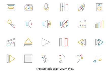 Music Colored Outline Vector Icons 1
