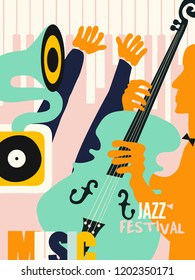 Music colorful background flat vector illustration. Artistic music festival poster, live concert, listening to music, creative design with gramophone, violoncello and piano. Party flyer
