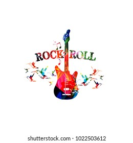 Music colorful background with guitar. Rock music festival poster. Guitar isolated vector illustration. Music instrument vector