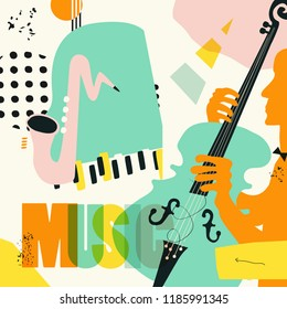 Music colorful background with music instruments flat vector illustration. Artistic music festival poster, live concert, creative design with word music and saxophone, piano and violoncello