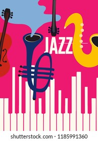 Music colorful background with music instruments flat vector illustration. Artistic music festival poster, live concert, creative design with word jazz, saxophone, trumpet, violoncello and piano