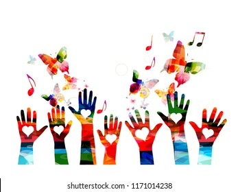 Music colorful background with music notes and hands vector illustration. Artistic music festival poster, live concert, creative love music design