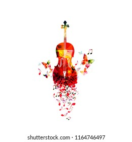 Music colorful background with music notes and violoncello vector illustration design. Artistic music festival poster, live concert, creative cello design