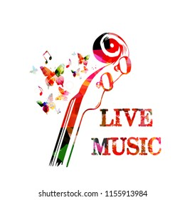 Music colorful background with music notes and violoncelo pegbox and scroll vector illustration design. Music festival poster, live concert, creative cello neck design