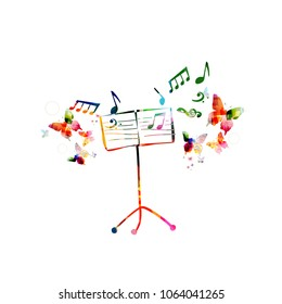 Music colorful background with music stand. Music festival poster. Music stand isolated vector illustration