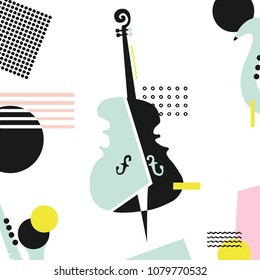 Music colorful background with violoncello isolated vector illustration. Geometric music festival poster, creative cello design