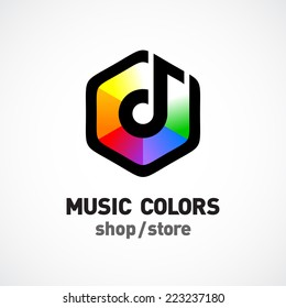 Music colors logo template. Colorful hex sign.