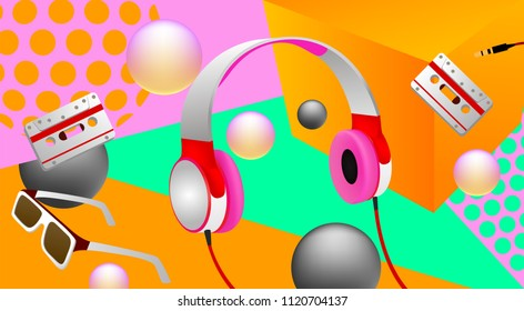 Music concept banner. Headphones and glasses in the air on the orange background, vector illustration