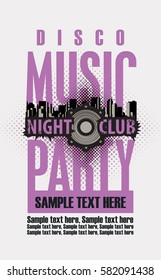 Music concept disco party poster template for night club and Audio speaker