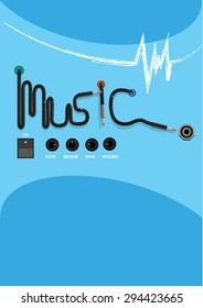 Music concept with Electronic Sound System Elements. Editable Clip Art.