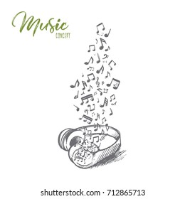 Music concept. Hand drawn headphone with flying musical notes. Audio music isolated vector illustration.