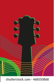 Music concept with the head of acoustic guitar surrounded by abstract lines. Editable Clip Art.