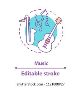 Music concept icon. Music festival or concert idea. Thin line illustration. Symphony orchestra. Guitar, saxophone. Vector isolated outline drawing. Editable stroke
