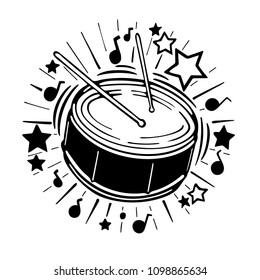 Music concept illustration. Hand drawn drum, drums ticks, stars, music notes and ray illustration.
