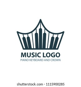 Music concept logo. Crown with piano keyboard. Music logo template on white background. Crown logo.