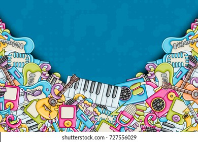 Music concept. Musical instruments and objects. Background design with free text space. Hand drawn doodle style. Print ready template for advertisement, flyer, banner, brochure. Vector illustration.