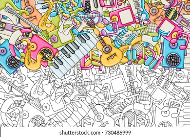 Music Concept Musical Instruments And Objects Background Design Black White Outline Coloring