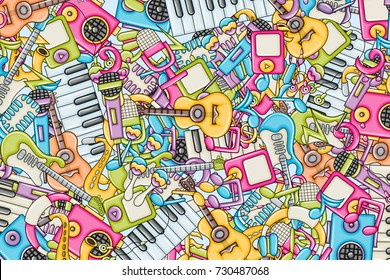 Music concept. Musical instruments and objects. Background design. Hand drawn doodle style. Print ready template for advertisement, flyer, banner, brochure. Vector illustration.