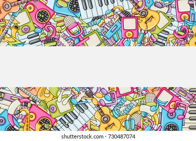 Music concept. Musical instruments and objects. Background design with free space for text. Hand drawn doodle style. Template for advertisement, flyer, banner, brochure. Vector illustration.