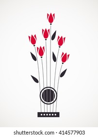 Music Concept. Vector Illustration with concept guitar and flowers. Acoustic guitar concept. Live music concert vector .