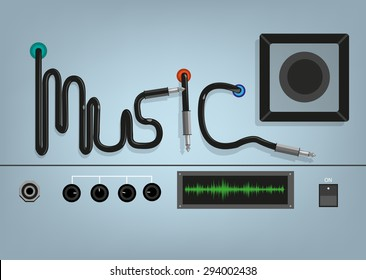 Music Concept. Wires form the word music with device wires, dials and plugs. Editable Clip art.