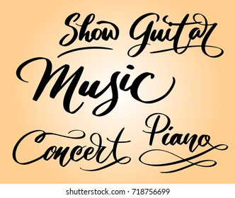 Music and concert hand written typography. Ready to use it. Good use for logotype symbol cover label product brand poster title or any graphic design you want