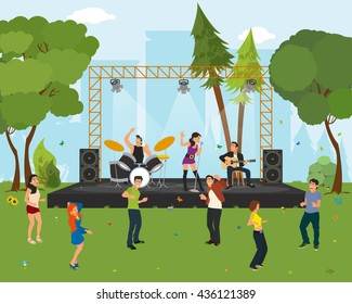 music concert in the park. outdoor music festival. People dancing in the city park at the concert. vector