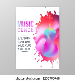 Music concert poster, paint splatter party flyer template with violoncello vector illustration. Music party promotional banner with ink stain and cello. Music instrument brochure design