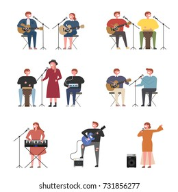music concert Singers and performers character vector illustration flat design