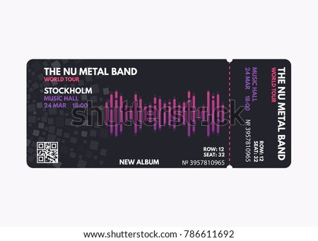 Music Concert Ticket Template Dark Black Color Design With White Purple And Pink