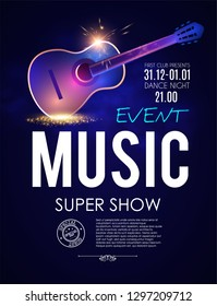 Music Concert Toster Template with Guitar and Light Effects. Vector illustration