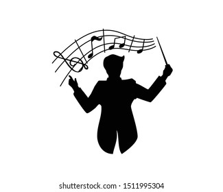 Music Conductor Conduct the Orchestra combined with Musical Notes Silhouette