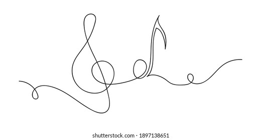 Music, continuous line, Vector line drawing. Print design. Note, treble clef