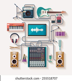 Music creation. Flat design.