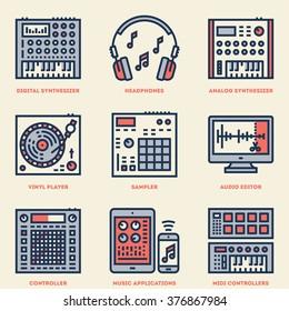 Music Creation Producer Beatmaker Set. Line Design Vintage Icon Set. Vector Illustrations.