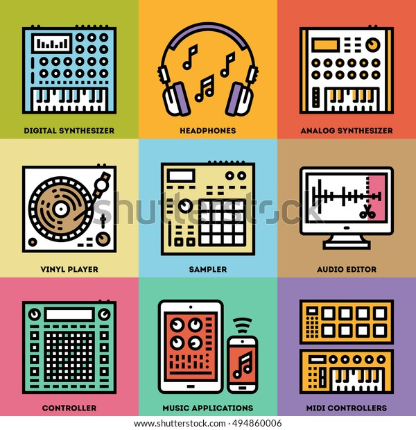 Music Creation Producer Beatmaker Set Line Stock Vector