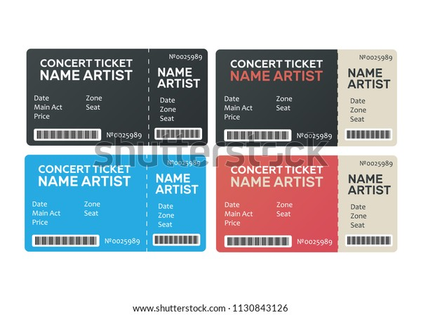 Music Dance Live Concert Tickets Templates Stock Vector