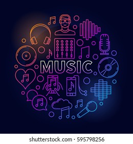Music dark round illustration. Vector colorful concept symbol made with different musical line icons and word MUSIC in center on dark background