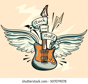 Music design - drawn winged rock and roll guitar