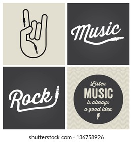 music design elements with font type and illustration vector
