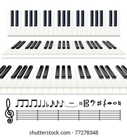 Music Design Elements - vector Piano keys or Organ keyboard with all note symbols icon set