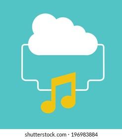 Music design over blue background, vector illustration